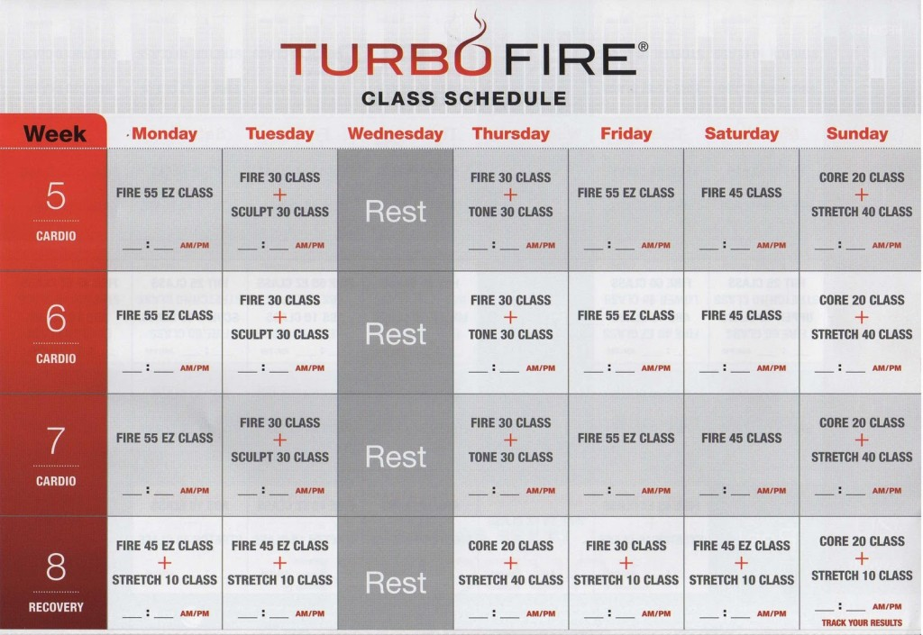 Turbo Fire Calendar | New Calendar Template Site