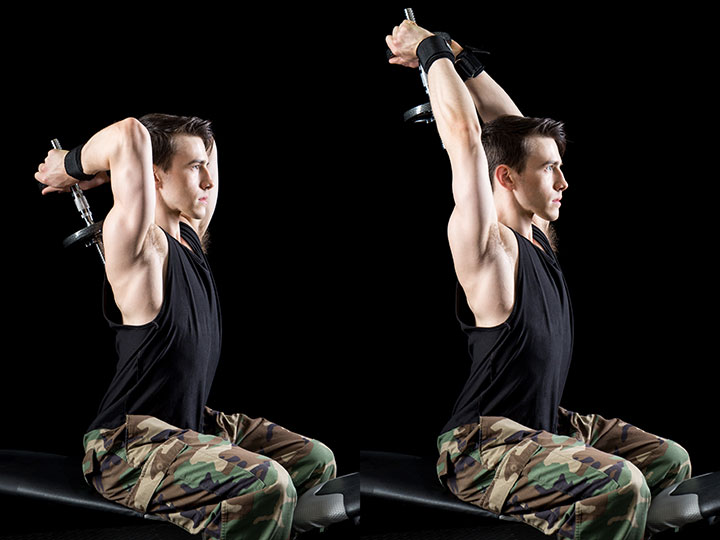 standing overhead dumbbell tricep extension example
